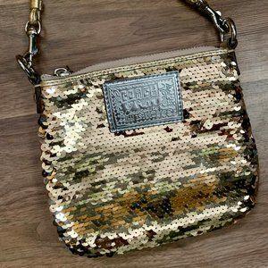 Coach POPPY Gold Sequin Crossbody Handbag Purse